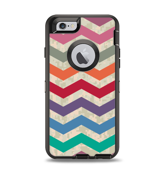 The Retro Chevron Pattern with Digital Camo Apple iPhone 6 Otterbox  Defender Case Skin Set 089859dca41d