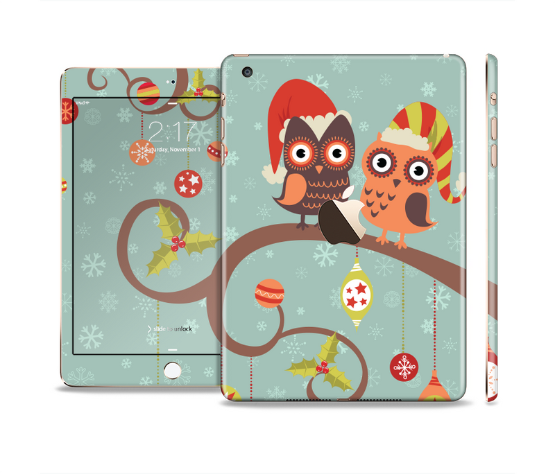 The Retro Christmas Owls with Ornaments Full Body Skin Set for the Apple iPad Mini 3