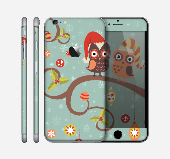 The Retro Christmas Owls with Ornaments Skin for the Apple iPhone 6 Plus