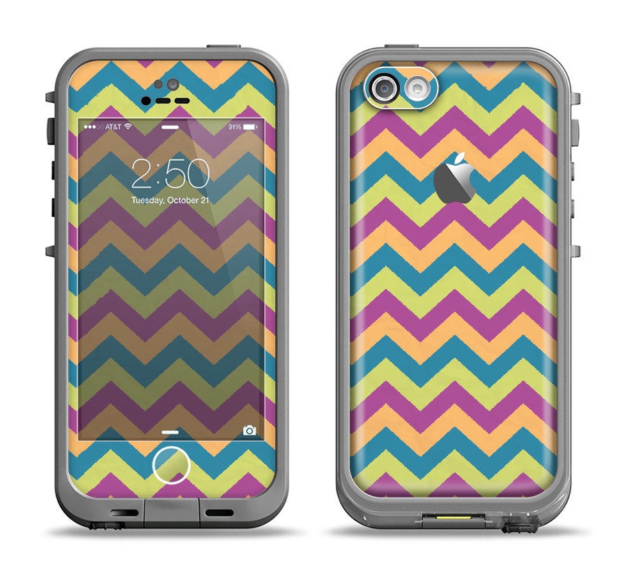 The Retro Colored Green & Purple Chevron Pattern Apple iPhone 5c LifeProof Fre Case Skin Set