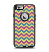 The Retro Colored Green & Purple Chevron Pattern Apple iPhone 6 Otterbox Defender Case Skin Set