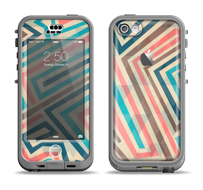 The Retro Colored Maze Pattern Apple iPhone 5c LifeProof Nuud Case Skin Set