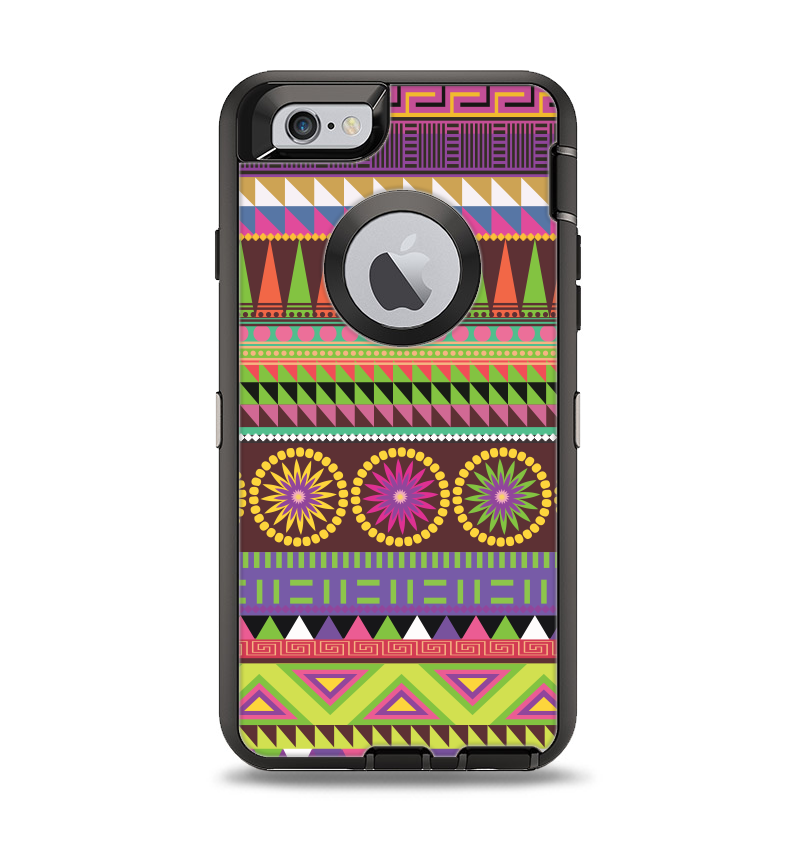 The Retro Colored Modern Aztec Pattern V63 Apple iPhone 6 Otterbox Defender Case Skin Set