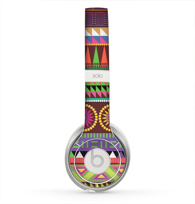 The Retro Colored Modern Aztec Pattern V63 Skin for the Beats by Dre Solo 2 Headphones