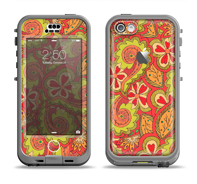 The Retro Red and Green Floral Pattern Apple iPhone 5c LifeProof Nuud Case Skin Set