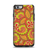 The Retro Red and Green Floral Pattern Apple iPhone 6 Otterbox Symmetry Case Skin Set