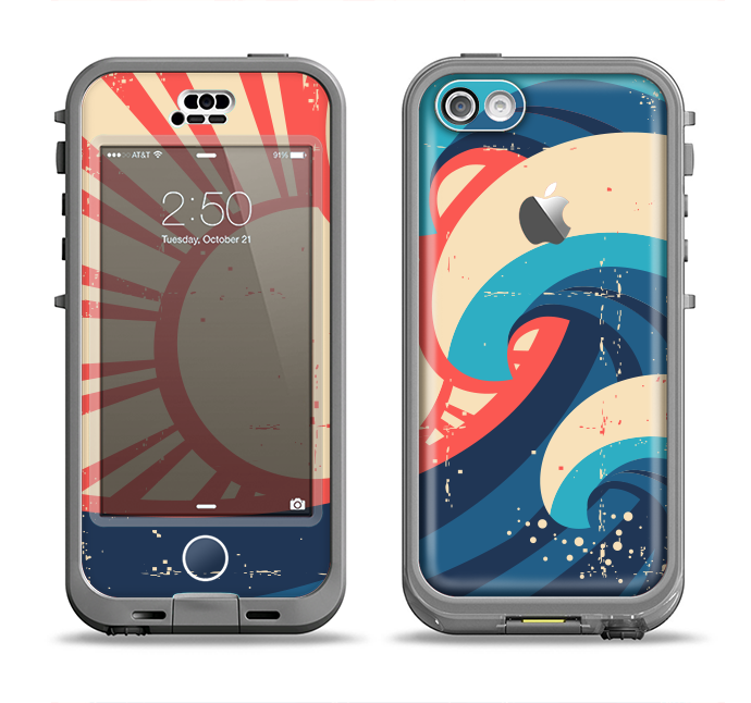 The Retro Vintage Blue vector Waves V3 Apple iPhone 5c LifeProof Nuud Case Skin Set