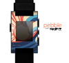 The Retro Vintage Blue vector Waves V3 Skin for the Pebble SmartWatch