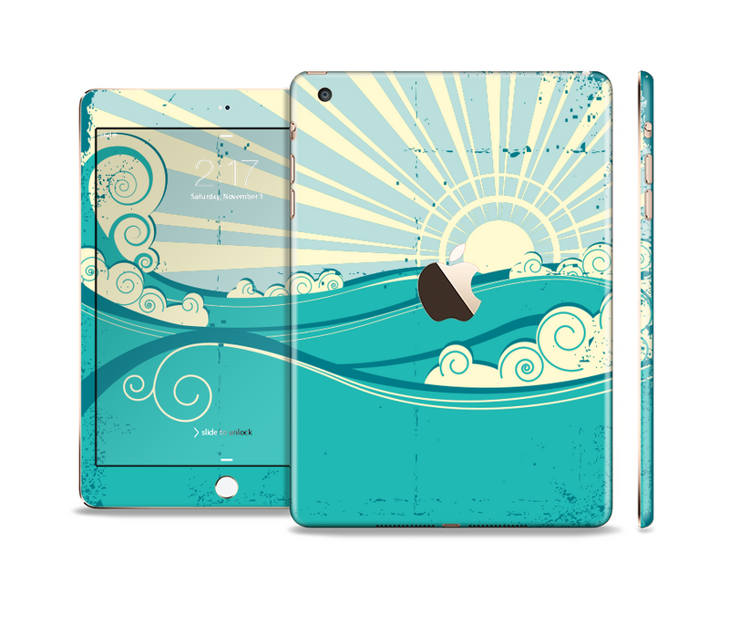 The Retro Vintage Vector Waves Full Body Skin Set for the Apple iPad Mini 3