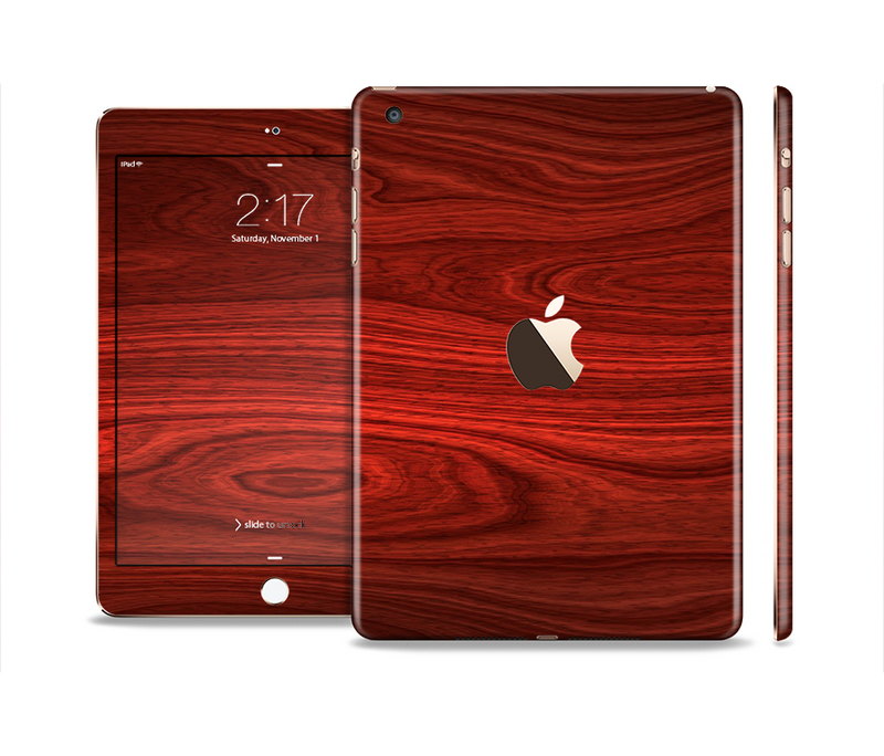 The Rich Red Wood grain Full Body Skin Set for the Apple iPad Mini 3