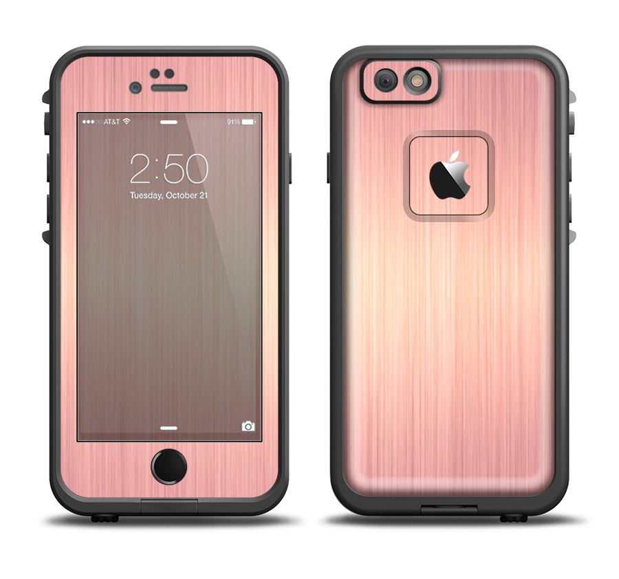 the rose gold brushed surface Apple iPhone 6 6s LifeProof Fre Case Skin Set  - DesignSkinz 61c9e17b41c5