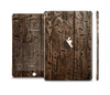 The Rough Textured Dark Wooden Planks Full Body Skin Set for the Apple iPad Mini 3