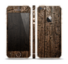 The Rough Textured Dark Wooden Planks Skin Set for the Apple iPhone 5s