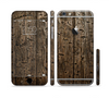 The Rough Textured Dark Wooden Planks Sectioned Skin Series for the Apple iPhone 6