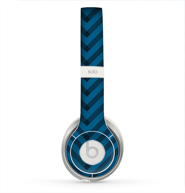 The Royal Blue & Black Sketch Chevron Skin for the Beats by Dre Solo 2 Headphones