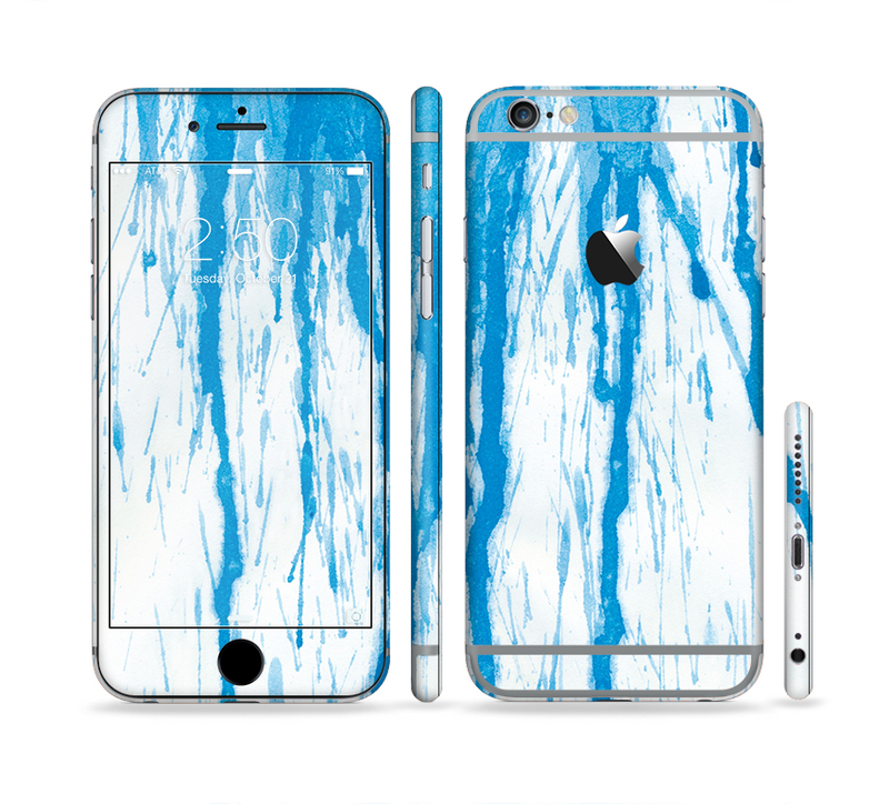 The Running Blue WaterColor Paint Sectioned Skin Series for the Apple iPhone 6s