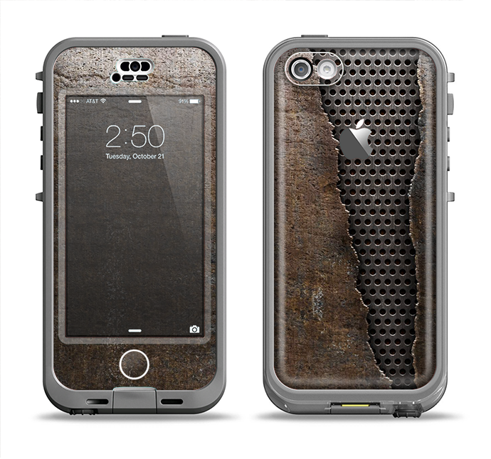 The Rustic Peeled Metal Apple iPhone 5c LifeProof Nuud Case Skin Set