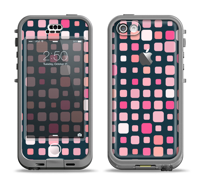 The Scattered Pink Squared-Polka Dots Apple iPhone 5c LifeProof Nuud Case Skin Set