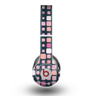 The Scattered Pink Squared-Polka Dots Skin for the Beats by Dre Original Solo-Solo HD Headphones