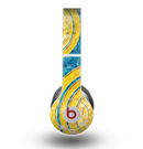 The Scratched Blue and Gold Surface Skin for the Beats by Dre Original Solo-Solo HD Headphones