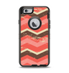 The Scratched Coral & Brown Layered Chevron V1 Apple iPhone 6 Otterbox Defender Case Skin Set