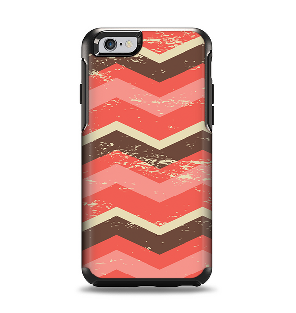 The Scratched Coral & Brown Layered Chevron V1 Apple iPhone 6 Otterbox Symmetry Case Skin Set