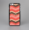 The Scratched Coral & Brown Layered Chevron V1 Skin-Sert Case for the Apple iPhone 6 Plus