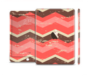 The Scratched Coral & Brown Layered Chevron V1 Full Body Skin Set for the Apple iPad Mini 3
