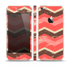 The Scratched Coral & Brown Layered Chevron V1 Skin Set for the Apple iPhone 5s