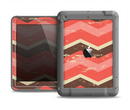 The Scratched Coral & Brown Layered Chevron V1 Apple iPad Air LifeProof Fre Case Skin Set