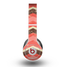 The Scratched Coral & Brown Layered Chevron V1 Skin for the Beats by Dre Original Solo-Solo HD Headphones