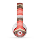The Scratched Coral & Brown Layered Chevron V1 Skin for the Beats by Dre Studio (2013+ Version) Headphones