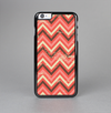 The Scratched Coral & Brown Layered Chevron V2 Skin-Sert Case for the Apple iPhone 6 Plus