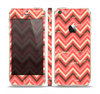 The Scratched Coral & Brown Layered Chevron V2 Skin Set for the Apple iPhone 5s