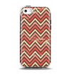 The Scratched Coral & Brown Layered Chevron V3 Apple iPhone 5c Otterbox Symmetry Case Skin Set