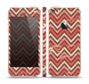 The Scratched Coral & Brown Layered Chevron V3 Skin Set for the Apple iPhone 5s