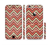 The Scratched Coral & Brown Layered Chevron V3 Sectioned Skin Series for the Apple iPhone 6 Plus