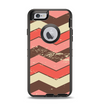 The Scratched Coral & Brown Layered Chevron V4 Apple iPhone 6 Otterbox Defender Case Skin Set