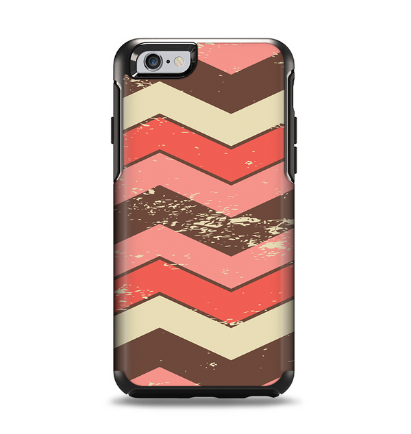 The Scratched Coral & Brown Layered Chevron V4 Apple iPhone 6 Otterbox Symmetry Case Skin Set