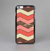 The Scratched Coral & Brown Layered Chevron V4 Skin-Sert Case for the Apple iPhone 6 Plus
