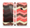 The Scratched Coral & Brown Layered Chevron V4 Skin Set for the Apple iPhone 5s