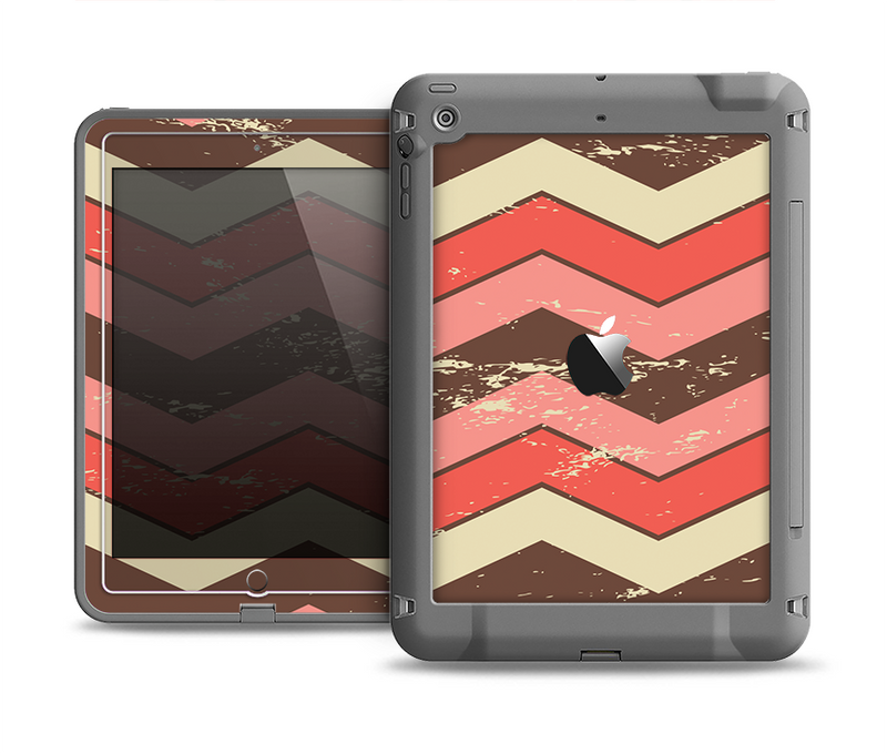 The Scratched Coral & Brown Layered Chevron V4 Apple iPad Air LifeProof Fre Case Skin Set