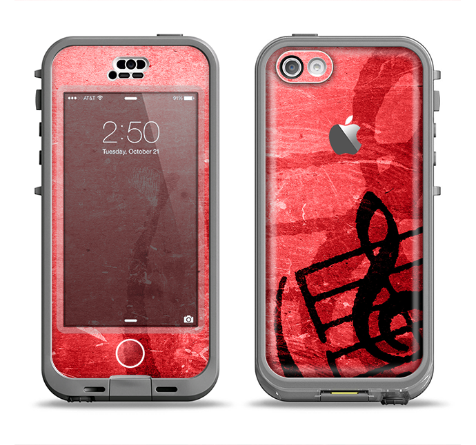 The Scratched Red Surface with Black Music Note Apple iPhone 5c LifeProof Nuud Case Skin Set