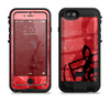 the scratched red surface with black music note  iPhone 6/6s Plus LifeProof Fre POWER Case Skin Kit