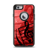 The Scratched Red Surface with Black Music Note Apple iPhone 6 Otterbox Defender Case Skin Set