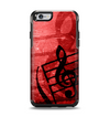 The Scratched Red Surface with Black Music Note Apple iPhone 6 Otterbox Symmetry Case Skin Set