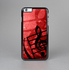 The Scratched Red Surface with Black Music Note Skin-Sert Case for the Apple iPhone 6 Plus