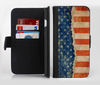 The Scratched Surface Peeled American Flag Ink-Fuzed Leather Folding Wallet Credit-Card Case for the Apple iPhone 6/6s, 6/6s Plus, 5/5s and 5c