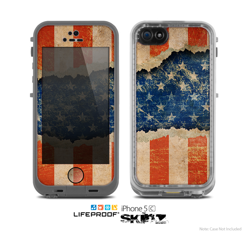 The Scratched Surface Peeled American Flag Skin for the Apple iPhone 5c LifeProof Case