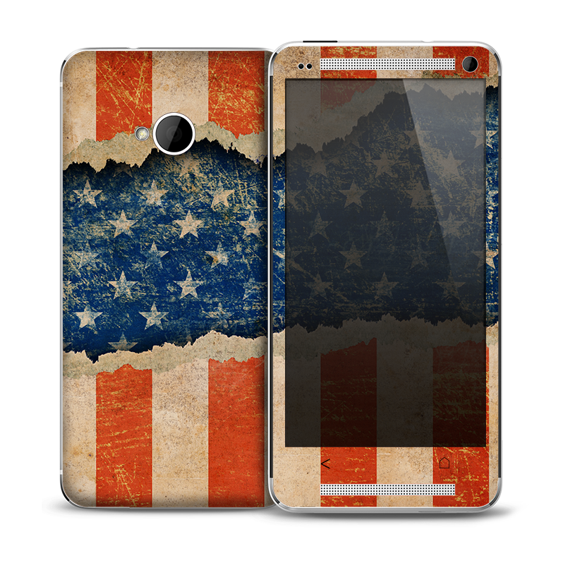 The Scratched Surface Peeled American Flag Skin for the HTC One